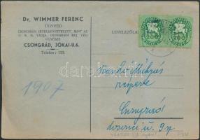 1946 (14. díjszabás) Nyomtatvány Lovasfutár 200 ezer P párral bérmentesítve