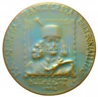 1984. Magyarország - Franciaország Bélyegkiállítás - Budapest 1984 eozin mázas Zsolnay porcelán emlékplakett (109mm) T:2