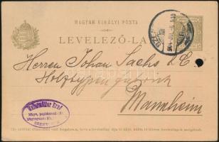 1904 Futott díjjegyes levelezőlap nagy vízjelrészlettel / Used PS-card with large watermark part (lyukasztás / hole)