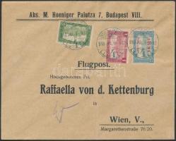 1918. jul. 9. Légi levél Bécsbe 1K50f Repülő posta bélyeggel és 1.80K kiegészítő bérmentesítéssel / Mi 210 with additional franking on airmail cover to Vienna