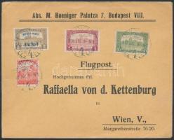 Mi 211 with additional franking on airmail cover to Vienna, 1918. jul. 9. Légi levél Bécsbe 4K50f Repülő posta bélyeggel és 1.90K kiegészítő bérmentesítéssel