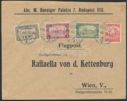Mi 211 with additional franking on airmail cover to Vienna, 1918. jul. 10. Légi levél Bécsbe 4K50f Repülő posta bélyeggel és 1.90K kiegészítő bérmentesítéssel