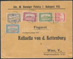 Mi 210-211 + additional franking on airmail cover to Vienna., 1918. jul.10. Repülő posta sor +  kiegészítő bérmentesítés légi levélen Bécsbe