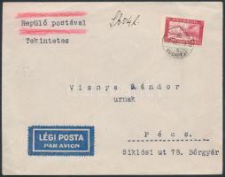 1930 Repülő 20f belföldi légi levélen. Rendkívül ritka, magas pontérték!!