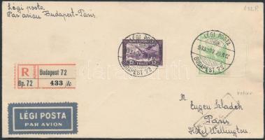 1933 Ajánlott légi levél Párizsba, visszaküldve / Registered airmail cover to Paris, returned