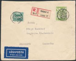 1934 Ajánlott légi levél Dániába / Registered airmail cover to Denmark