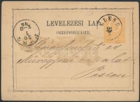 1872 Díjjegyes levelezőlap ÉLESD - PEST