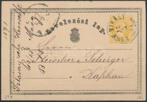 1871 Díjjegyes levelezőlap NAGY-MIHÁLY ZEMPL.MEGYE