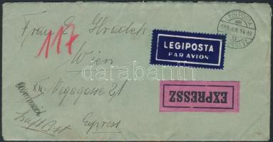 1939 Expressz légi levél Bécsbe / Express airmail cover to Vienna