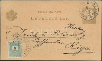 1899 Díjkiegészített díjjegyes levelezőlap BÁZIÁS-BUDAPEST 3.Sz vasúti bélyegzéssel Rigába / PS-card with additional franking and railway postmark to Riga