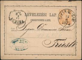 1873 Díjjegyes levelezőlap / PS-card BAKAR-BUCCARI - TRIEST