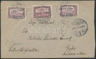 1920 (2. díjszabás) Légi posta teljes sor légi levélen Győrbe / Mi 319-321 on airmail cover to Győr
