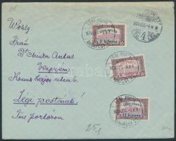 Inflation airmail cover to Veszprém, (2. díjszabás) Légi posta teljes sor légi levélen Veszprémbe