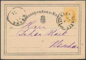 1871 Díjjegyes levelezőlap / PS-card NAGY-MIHÁLY ZEMPL. M. - KASSA