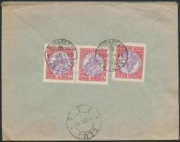1924 (14. díjszabás) 3 x 3000K Madonna ajánlott levélen Romániába / Registered cover to Romania