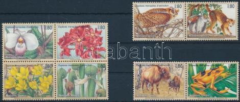1995-1996Endangered animals set + block of 4, 1995-1996 Veszélyeztetett állatok és növények sor + négyestömb