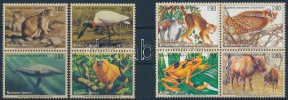 1994-1995 Veszélyeztetett állatok sor + négyestömb, 1994-1995 Endangered animals set + block of 4