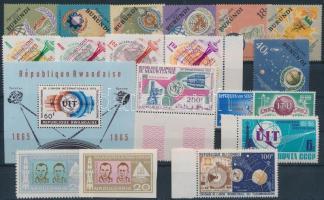 Space Exploration 1963-1965 18 stamps with sets + 1 block, Űrkutatás motívum 1963-1965 18 klf bélyeg, közte sorok + 1 blokk