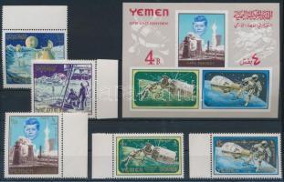 1965 Űrkutatás ívszéli sor Mi 191-195 A + blokk 27
