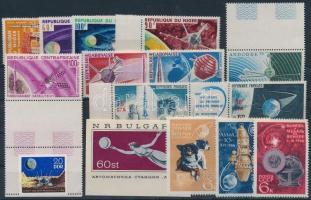 Space Exploration 14 diff stamps with sets + 1 block, Űrkutatás motívum 14 klf bélyeg, közte sorok,  összefüggések + 1 blokk