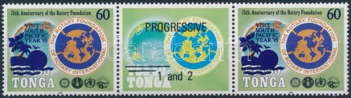 Rotary coupon stripe of 3, Rotary szelvényes hármascsík pár