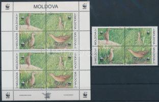 WWF Bird block of 4 + mini sheet, WWF: Madár, Haris négyestömb + kisív