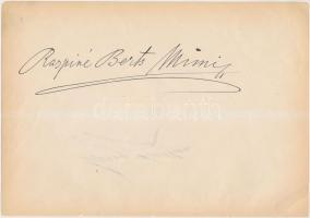 Berts Mimi (?1864--?1946) mezzoszoprán operaénekes saját kezű aláírása papírlapon, 16x24cm + ugyanazon papírlapon másik azonosítandó aláírás