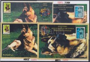 2000 Kaposvári emlékív kutya címerrel kiadatlan első próbanyomatpár színes (fehér felirattal), második próbanyomatpár színes, (sárga felirattal)