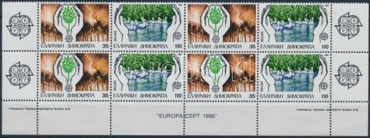 Europa CEPT, Nature Protection set in block of 8, Europa CEPT, Természetvédelem sor vízszintes 8-as tömbben