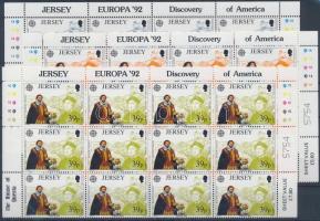1992 Europa CEPT, Amerika felfedezésének 500. évfordulója sor ívsarki 12-es tömbökben Mi 574-576