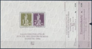 1984 Hannover emlékív rajta belépő bélyegkiállításra