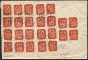 Inflation cover Local cover franked with 24 stamps ( creased), (21. díjszabás) Helyi levél 24x10.000mP Milpengős bérmentesítéssel (gyűrött)