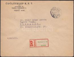1946 (15. díjszabás) Ajánlott távolsági levél Betűs III. Távolsági levél/18f + Ajánlás/24f hatostömb bérmentesítéssel