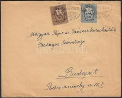 1946 (12. díjszabás) Távolsági levél Lovasfutár Köztársaság vegyes bérmentesítéssel, 1000P-vel alul bérmentesítve
