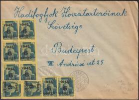 1945 (5. díjszabás) Távolsági levél korábbi díjszabás szerint bérmentesítve 10x6P/50f Kisegítő (II) bélyeggel