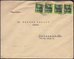 1946 (6. díjszabás) Helyi levél Kisegítő (III) 4x100P/12f bérmentesítéssel