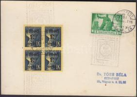 1945 (5. díjszabás) Levelezőlap nyomtatványként feladva Kisegítő (II) 3P/50f négyestömb + Újjáépítés 20P bérmentesítéssel BÉLYEGGYŰJTÉSI PROPAGANDA KIÁLLÍTÁS alkalmi bélyegzéssel