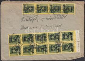 1945 (5. díjszabás) Távolsági levél 24x5P/8f Kisegítő (II) bélyeggel bérmentesítve (sérült boríték)