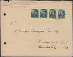 1945 (2. díjszabás) Helyi levél Kisegítő (I) 50f/50f négyescsíkkal bérmentesítve