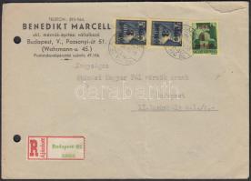 1945 (2. díjszabás) Helyi ajánlott levél Kisegítő (I-II) 1P/1P + 3P/50f párral bérmentesítve
