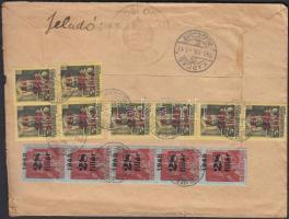 1945 (2. díjszabás) Távolsági levél Kisegítő (I) 8x20f/18f + 5x28f/5f bérmentesítéssel