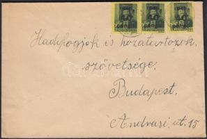 1945 (5. díjszabás) Távolsági levél Kisegítő (III) 3x40P/8f bérmentesítéssel