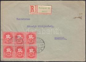 1946 (8. díjszabás) Ajánlott távolsági levél Lovasfutár 6x10eP bérmentesítéssel