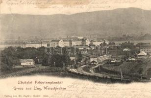 Fehértemplom, Bela Crkva; vasútállomás, gőzmozdony / railway station, locomotive (kis szakadás / small tear)