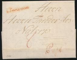 1786 Portós levél / unpaid cover piros / red Temesvár - Pest