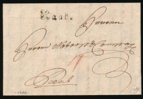1788 Portós levél Raab - Pest