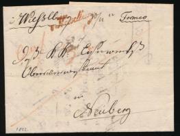 1822 Franco levél piros / red Wieselburg - Neuberg wf-5 feljegyzéssel