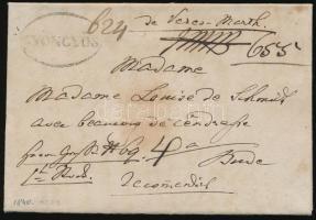 1840 Portós ajánlott levél / unpaid registered cover GYÖNGYÖS - Buda