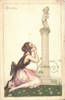 Italian art deco postcard, Anna & Gasparini 535-5  s: Busi, Olasz art deco művészlap, Anna & Gasparini 535-5  s: Busi