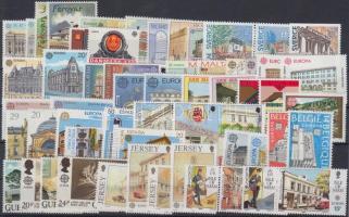 Europa CEPT, Postal institutions, Europa CEPT, Postai intézmények csaknem teljes évfolyam kiadásai benne sorok, párok